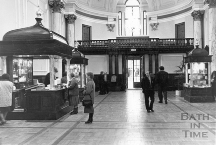 The ticket office for the Roman Baths, inside the old concert hall Feb 24 1988