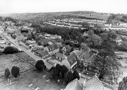 View of Northend, Batheaston from the top of the church tower 20 May 1983