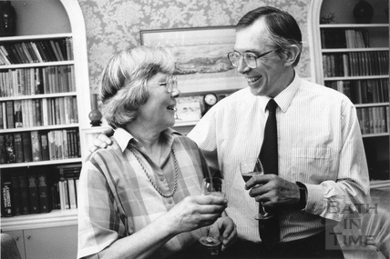 Peter and Christine Davis celebrate the approval of the Batheaston Bypass 1 July 1972