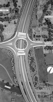 The London Road roundabout seen from above by Bailbrook House 15 November 1990