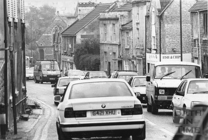Heavy traffic in Batheaston High Street 1 July 1972