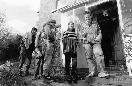 Protesters queuing up for a wash outside Bay tree Cottage, a condemned house in Swainswick 19 April 1994