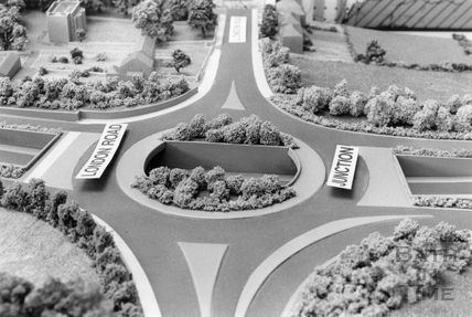 The roundabout at London Road for the Batheaston Bypass 15 November 1990