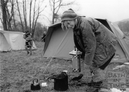 A protester makes a brew 11 April 1994