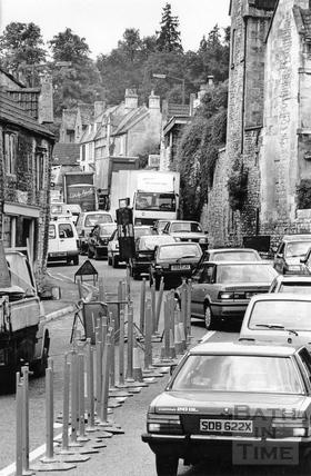 Traffic chaos in Batheaston High Street 15 July 1993