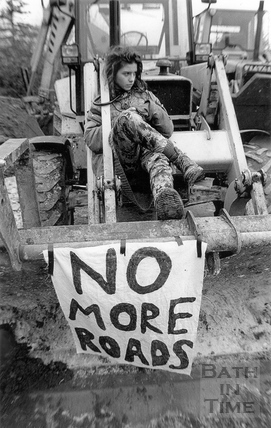 No more roads, a protester is locked to a digger 15 March 1994