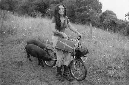 A protester and her pigs 17 August 1994