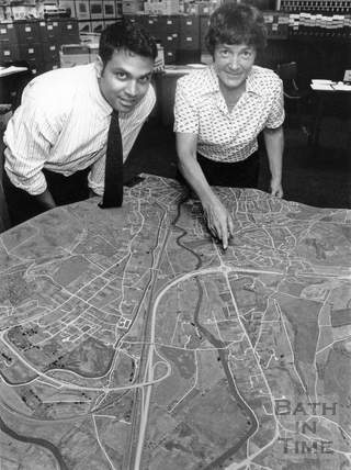 Model of the approved Batheaston Bypass and A36 link road 28 July 1990