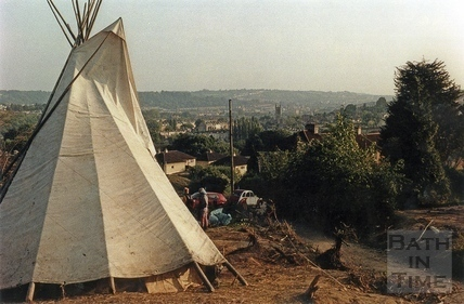 A tepee marks the camp of the protesters in the battleground 15 June 1994