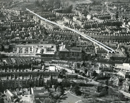 c.1965 Aerial view to illustrate the Buchanan tunnel route under Bath