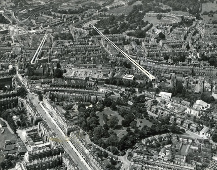 c.1965 Aerial view to illustrate the Buchanan tunnel and New Bond Street cut, Bath