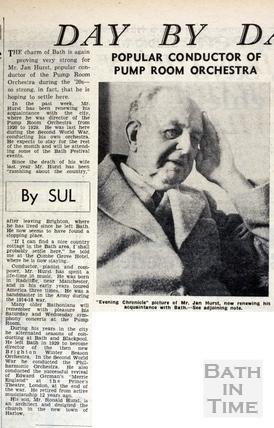 Mr Jan Hurst returns to Bath 7 June 1962