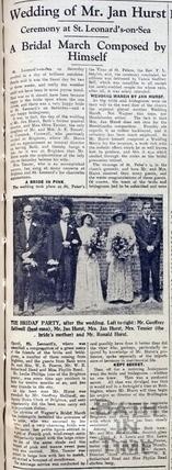 Wedding of Mr Jan Hurst June 11 1934