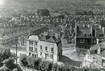 View down Ballance Street and Lampards Buildings from Lansdown 2 August 1969