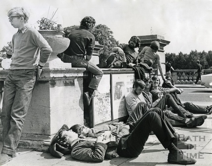 Students congregating at 'Bog Island', Terrace Walk