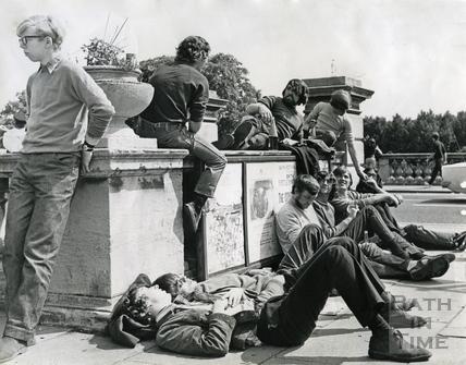 Students congregating at 'Bog Island', Terrace Walk