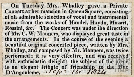 Newspaper cutting Sept 14 1824