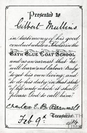 Good conduct certificate, Bluecoat School Feb 9th 1914