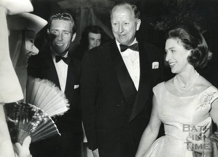 Princess Margaret and Lord Snowdon meet a performer in Parade Gardens, Bath Festival June 1962