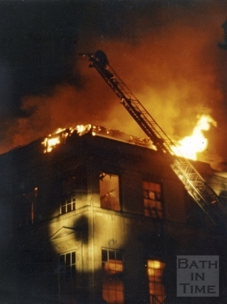 The Bath Street Treatment Centre on fire 26 July 1986