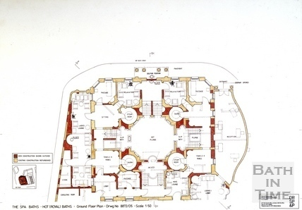 The Spa Baths - Hot (Royal) Baths - Ground Floor Plan c.1989