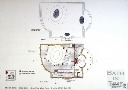The Spa Baths - Cross Bath, ground floor & roof plans c.1989