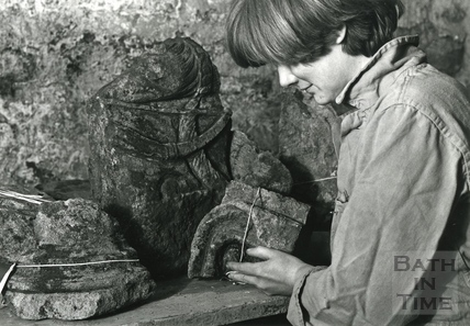 An archaeologist labelling relics found during the Bath Dig, 24 April 1981