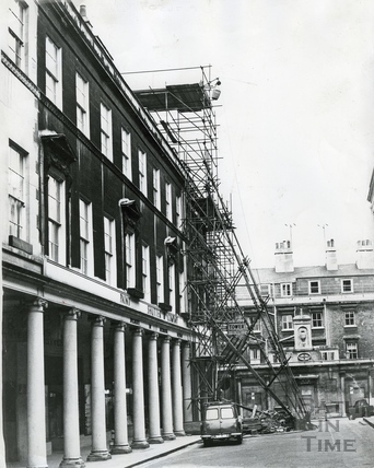 Scaffold shoring up the western end of the southern side of Bath Street c.1970s