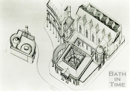 Bird's eye view of the proposed restoration of the Hot Bath and Beau Street Baths, Sept 1988