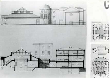 Elevation and section of proposed restoration of the Hot Bath and Beau Street Baths, Sept 1988