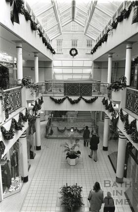 Inside the Collonades Shopping Centre, Bath Street, Christmas 1991