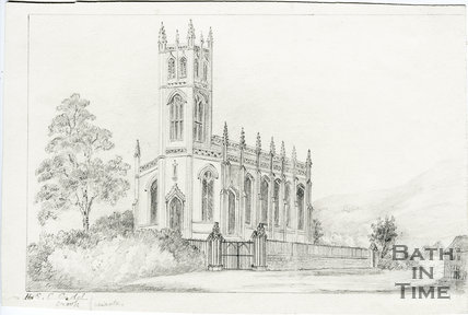 Pencil sketch of St Saviours, Larkhall c.1833