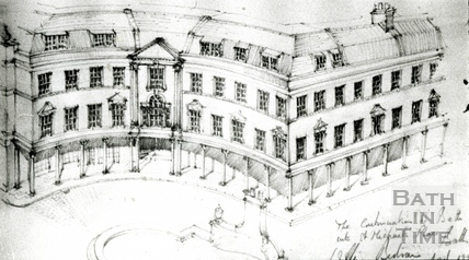 Sketch of the continuation of Bath Street into St Michaels Place 2 Jan 1990