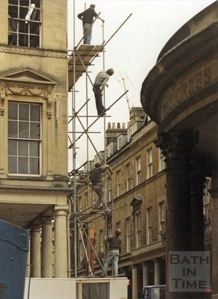 Scaffolding being erected to the Bath Street facade of the Bath Treatment Centre, 1 August 1986
