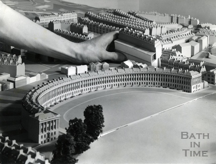 Making adjustments to the Royal Crescent in the Bath Model, c.1970s