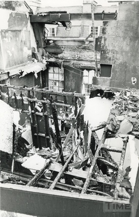 The Bath Treatment Centre, Bath Street after the fire, 30 July 1986