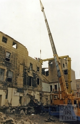 The demolished interior of the Bath Treatment Centre, Bath Street, 14 August 1986