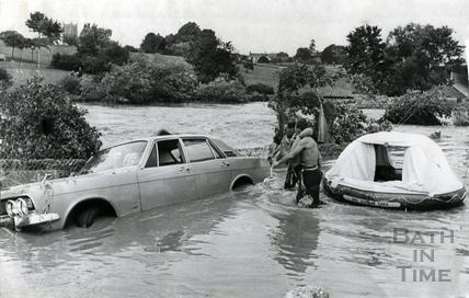 Floods in Memorial Park, Keynsham, 1968