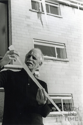 Len Page holds part of a 10 ft icicle which he discovered on the corner of his building in Bathwick during the great British freeze in 1982