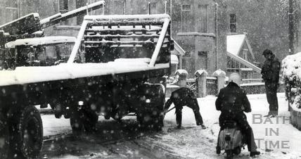 Traffic ground to a halt in wintry Bath in December 1981
