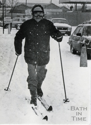 Roy Robinson skiing to work at Pitman Press, Jan 1982
