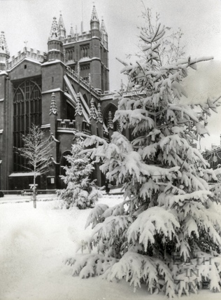 A winter wonderland outside Bath Abbey, December 1981