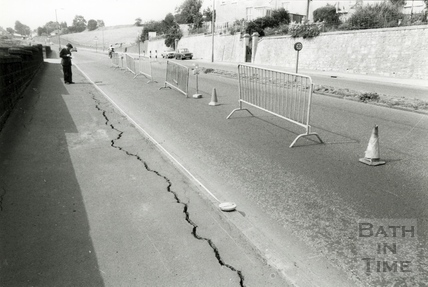 One lane of the Wells Road had to be closed after a crack appeared during the summer drought of 1976