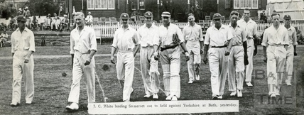 J.C. White leading Somerset out to field against Yorkshire at Bath, pre 1937