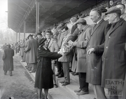St Johns Ambulance volunteers make a collection from spectators at Bath's Recreation Ground, early 1960s.
