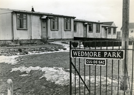 Prefabs in the snow at Wedmore Park, 1960s