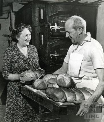 Mr and Mrs Stan Hiskens, familiar to shoppers at Hiskins Bakery, c.1960s