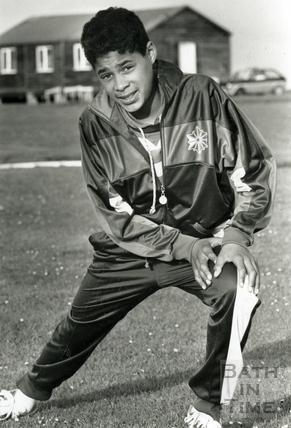 A young Bath Bullet - Jason Gardener warming up, May 1989