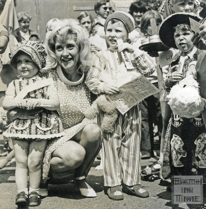 Liz Frazer and fancy dress competitors, July 1973