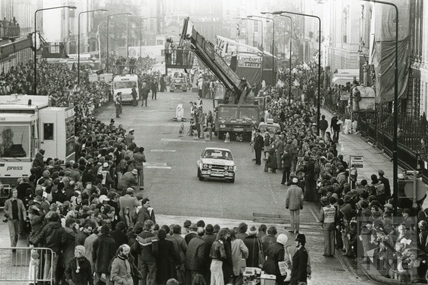 The start of the Lombard RAC Rally, Great Pulteney Street, November 1976